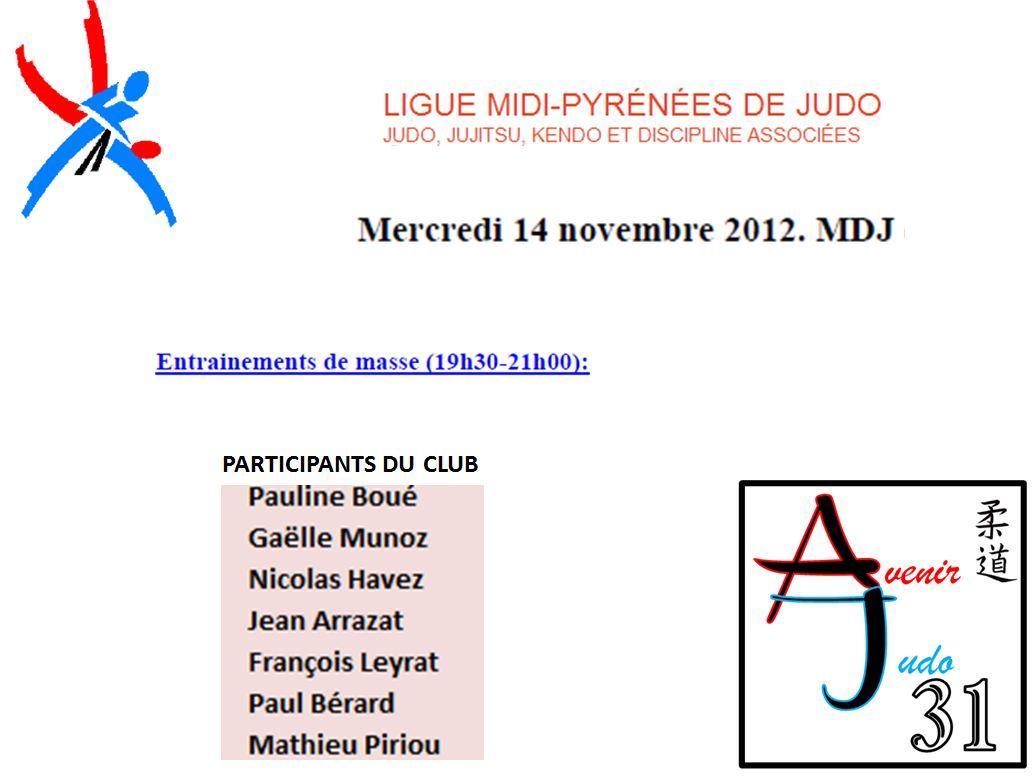 Participants Entrainement De Masse du 14 novembre 2012